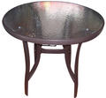 VALENCIA Aluminum table with tempered glass (80*80*73 cm)