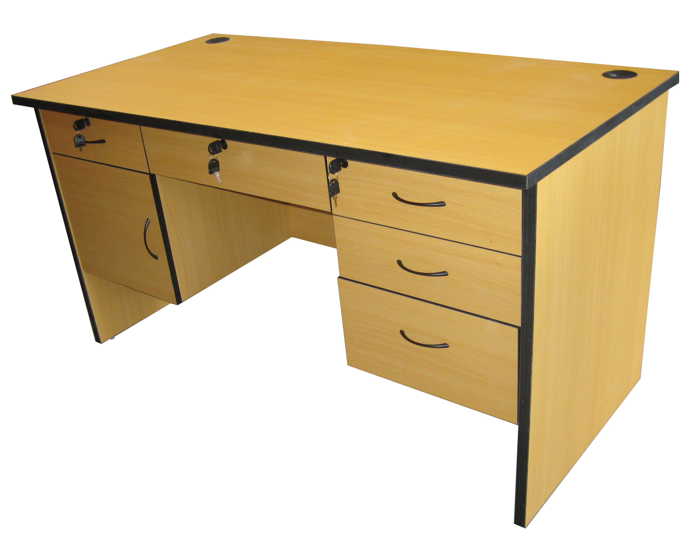 Merveilleux Soho BELGIUM Office Table W/ 6 Drawers, Groumet, Pvc Edging Colors: Black  Wallnut, Gray, Cherry, Wood Grain(140*70*75 Cm)