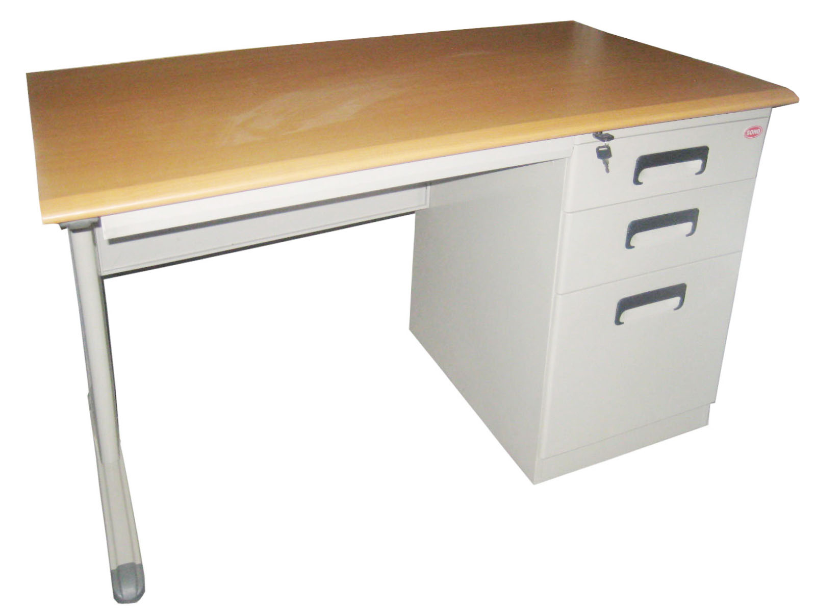 Soho Finland Office Desk Steel Frame Laminated Top W 4 Drawer Colour Gray L120 W70 H75 Cm